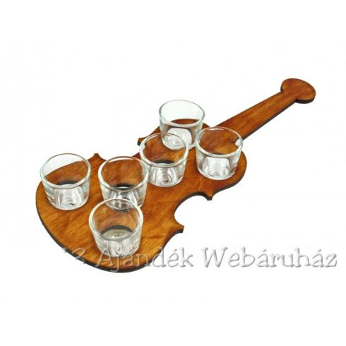Pálinkás pohár szett, hegedű tartóban
