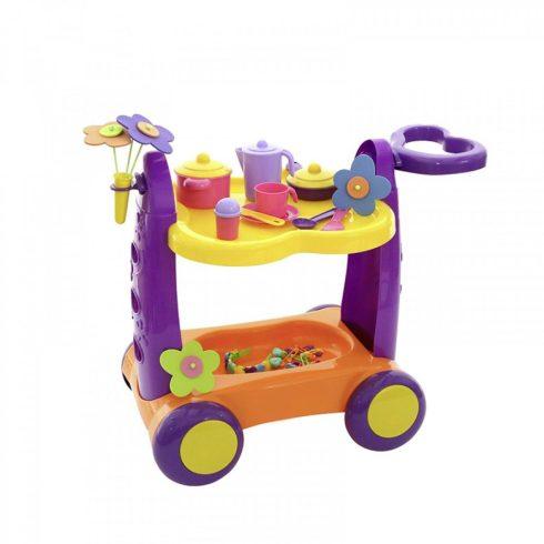 Játék konyhai szervírozó kocsi